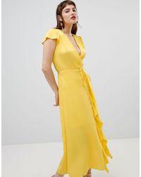 River Island - Wrap Front Ruffle Dress - Lyst