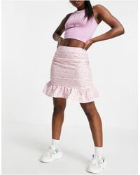 Missguided Co-ord Mini Skirt With Frill Hem - Pink