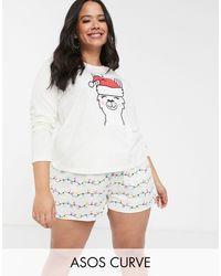 ASOS Asos Design Curve Christmas Unicorn Llama Tee & Short Pyjama Set - Natural