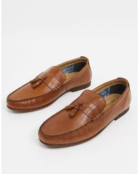 Red Tape Leather Penny Tassel Loafers - Brown