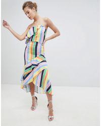 True Violet - Bandeau Midi Dress With Frill Hem - Lyst