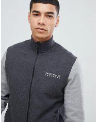 Jack Wills Barnsley - Giacca sportiva in felpa grigio scuro colour block con zip