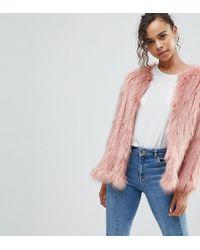River Island Fur Coat - Pink