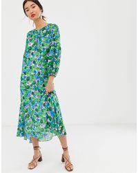 Whistles Alva Zinnia - Midi-jurk Met Bloemenprint - Blauw