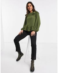 ASOS Long Sleeve Blouse With Ruffle Detail - Green