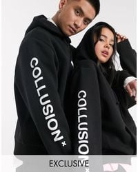 Collusion Unisex Hoodie Met Logo - Zwart