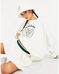 adidas Originals Серовато-белый Свитшот С Логотипом 'tennis Luxe'
