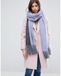 ASOS - Long Tassel Scarf In Supersoft Knit In Colour Block - Lyst