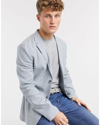 ASOS Skinny Soft Tailored Linen Blazer - Blue
