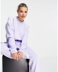 adidas Originals Sudadera corta lila con tres bandas - Morado