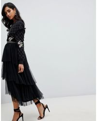 Frock and Frill - Embroidered Tulle Midi Skirt In Black - Lyst
