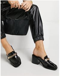 ASOS Shaw Chain Loafer Mid Heeled Mules - Black
