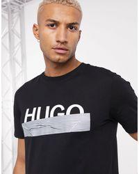 HUGO Dicagolino - T-shirt avec large logo - Noir