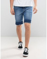ASOS - Denim Shorts In Slim With Contrast Hem Detail Mid Blue - Lyst
