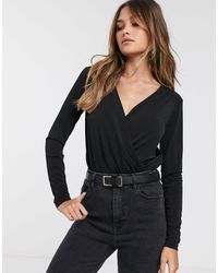 Y.A.S Wrap Body With Long Sleeves - Black