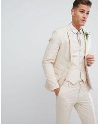 ASOS Wedding Skinny Suit Jacket - Natural