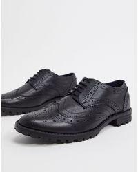 Redfoot Chaussures richelieu en cuir à semelles chunky - Noir