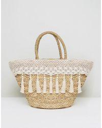 South Beach - Cream Tassel & Crochet Straw Bag - Lyst
