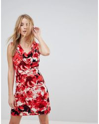 Wal-G - V Neck Dress In Floral Print - Lyst