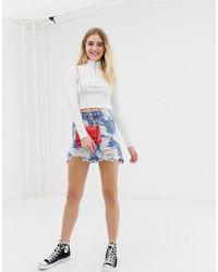 Glamorous - Acid Bleach Wash Denim Skirt - Lyst