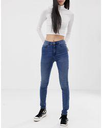 ONLY Jeans vita alta skinny - Blu