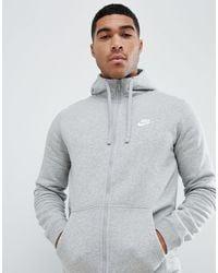 Nike Tall - Club - Felpa grigia con cappuccio e zip - Grigio