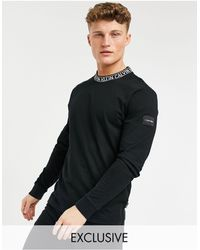 Calvin Klein Черный Лонгслив С Логотипом На Вороте – Эксклюзивно Для Asos-черный Цвет
