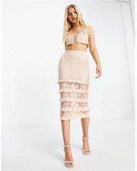 Love Triangle Lace Midi Skirt With Tiers - Orange
