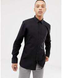 HUGO - Elisha01 Extra Slim Fit Poplin Shirt In Black - Lyst