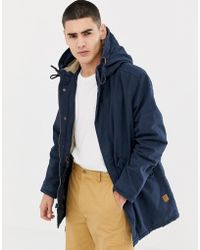 8aa5e4ab9 Jack & Jones Originals Light Weight Parka With Camo Lining in Blue ...