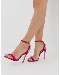 Lipsy Barely There Heeled Sandal With Cross Back In Fuschia - Pink
