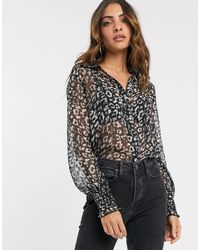 River Island - Shirred Blouse - Lyst