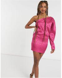 John Zack One Shoulder Puff Sleeve Mini Shift Dress - Pink
