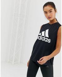 adidas Originals Черная Спортивная Майка С Логотипом Adidas-черный Цвет