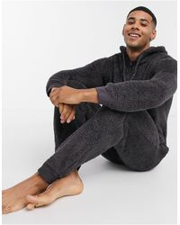 ASOS Lounge Onesie In Charcoal Fleece - Grey