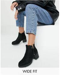 Simply Be Черные Ботинки На Каблуке С Протектором -черный