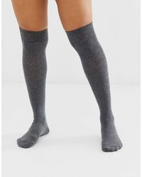 ASOS – Overknee-Socken - Grau
