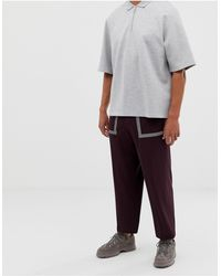 ASOS Wide Leg Smart Trouser In Techy Maroon With Reflective Tape Details - Multicolour