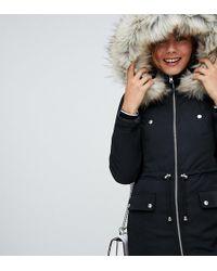 Miss Selfridge Padded Parka Coat In Black - Multicolour