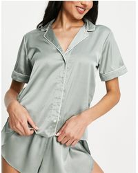 Abercrombie & Fitch - Satin Sleep Shirt Co-ord - Lyst