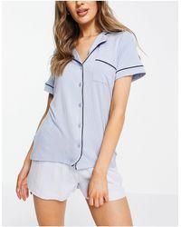 Lindex Голубая Пижамная Рубашка С Отложным Воротником Из Экологичной Вискозы Cissi-голубой - Синий