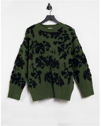 Vila Вязаный Джемпер С Черным Абстрактным Цветочным Принтом -многоцветный - Зеленый