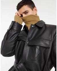 ASOS Veste façon chemise oversize ceinturée en cuir - Noir