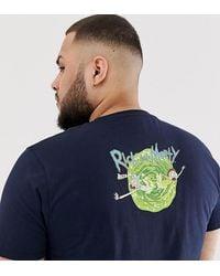 ASOS Plus - T-shirt Met Rick And Morty - Blauw