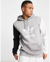 adidas Originals - Felpa con cappuccio color block con trifoglio, colore grigio - Lyst