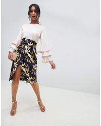 1c1c741c14cb ASOS Mini Skirt In Bird Jacquard With Puff Ball Hem in Yellow - Lyst