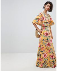 Vero Moda - Floral Maxi Dress With Frill Sleeve - Lyst