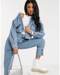 NA-KD Blue Balloon Sleeve Cropped Denim Jacket
