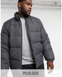 Brave Soul Plus Puffer Jacket With Funnel Neck - Grey