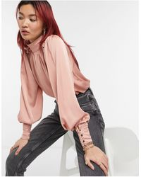 River Island Rouched Satin High Neck Blouse - Pink